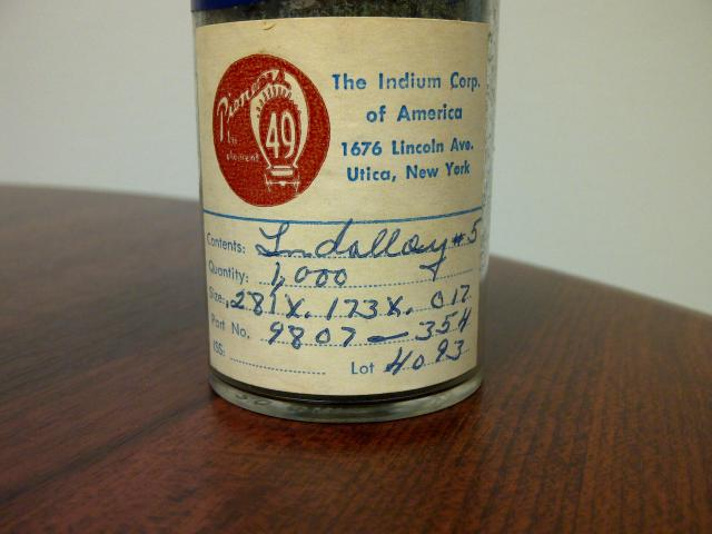Original Bottle of Indium Preforms