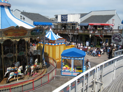 Pier 39 has restaurants, shops, and a carnival atmosphere