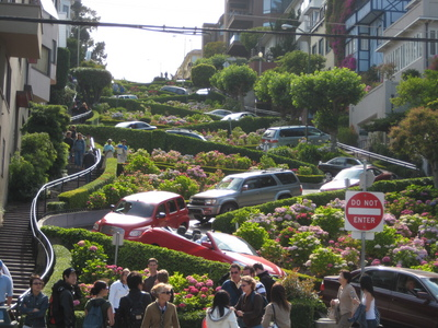 Test out your rental car on Lombard St